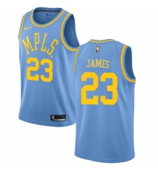 Women's Nike Los Angeles Lakers #23 LeBron James Authentic Blue Hardwood Classics NBA Jersey