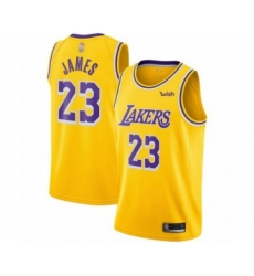 Youth Los Angeles Lakers #23 LeBron James Swingman Gold Basketball Jerseys - Icon Edition