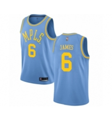 Youth Los Angeles Lakers #6 LeBron James Authentic Blue Hardwood Classics Basketball Jersey