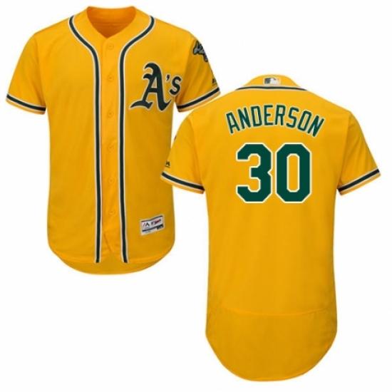 Men's Majestic Oakland Athletics #30 Brett Anderson Gold Alternate Flex Base Authentic Collection MLB Jersey