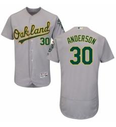 Men's Majestic Oakland Athletics #30 Brett Anderson Grey Road Flex Base Authentic Collection MLB Jersey
