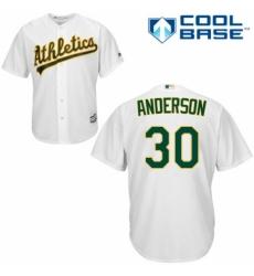 Men's Majestic Oakland Athletics #30 Brett Anderson Replica White Home Cool Base MLB Jersey