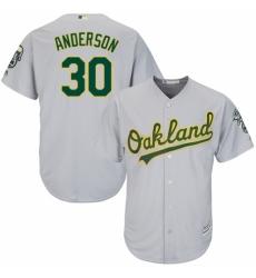 Youth Majestic Oakland Athletics #30 Brett Anderson Replica Grey Road Cool Base MLB Jersey