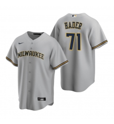 Men's Nike Milwaukee Brewers #71 Josh Hader Gray Road Stitched Baseball Jersey
