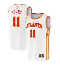 Youth Atlanta Hawks #11 Trae Young Fanatics Branded White 2020-21 Fast Break Player Jersey