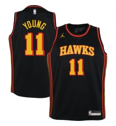 Youth Atlanta Hawks #11 Trae Young Jordan Brand Black 2020-21 Swingman Player Jersey