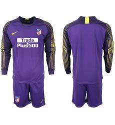 Atletico Madrid Blank Purple Goalkeeper Long Sleeves Soccer Club Jersey