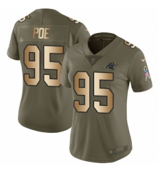 Women's Nike Carolina Panthers #95 Dontari Poe Limited Olive/Gold 2017 Salute to Service NFL Jersey