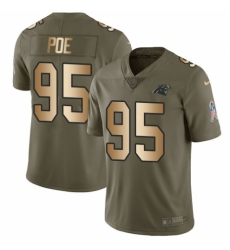 Youth Nike Carolina Panthers #95 Dontari Poe Limited Olive/Gold 2017 Salute to Service NFL Jersey