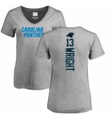 NFL Women's Nike Carolina Panthers #13 Jarius Wright Ash Backer V-Neck T-Shirt