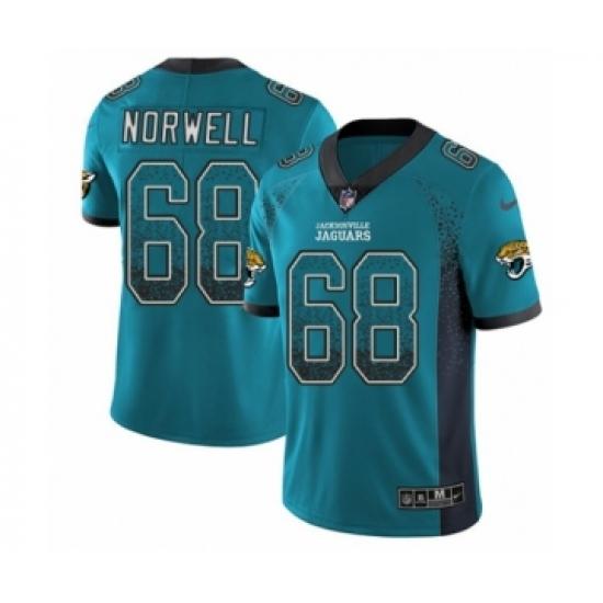 Men's Nike Jacksonville Jaguars #68 Andrew Norwell Limited Teal Green Rush Drift Fashion NFL Jersey