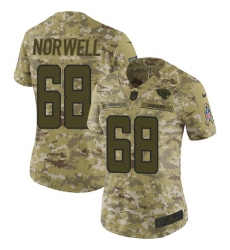 Women's Nike Jacksonville Jaguars #68 Andrew Norwell Limited Camo 2018 Salute to Service NFL Jersey