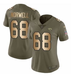 Women's Nike Jacksonville Jaguars #68 Andrew Norwell Limited Olive/Gold 2017 Salute to Service NFL Jersey