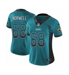 Women's Nike Jacksonville Jaguars #68 Andrew Norwell Limited Teal Green Rush Drift Fashion NFL Jersey