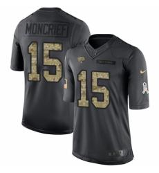 Men's Nike Jacksonville Jaguars #15 Donte Moncrief Limited Black 2016 Salute to Service NFL Jersey