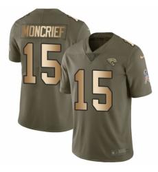 Men's Nike Jacksonville Jaguars #15 Donte Moncrief Limited Olive/Gold 2017 Salute to Service NFL Jersey
