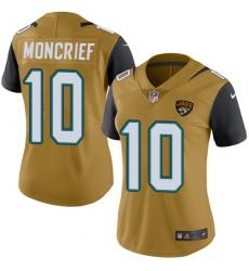 Women's Nike Jacksonville Jaguars #10 Donte Moncrief Limited Gold Rush Vapor Untouchable NFL Jersey