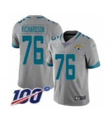 Men's Jacksonville Jaguars #76 Will Richardson Silver Inverted Legend Limited 100th Season Football Jersey