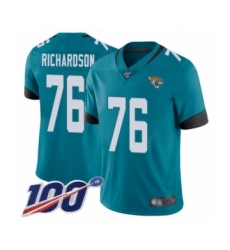 Men's Jacksonville Jaguars #76 Will Richardson Teal Green Alternate Vapor Untouchable Limited Player 100th Season Football Jersey