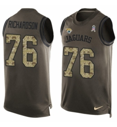Men's Nike Jacksonville Jaguars #76 Will Richardson Limited Green Salute to Service Tank Top NFL Jersey