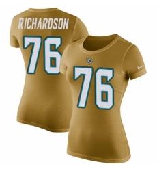 NFL Women's Nike Jacksonville Jaguars #76 Will Richardson Gold Rush Pride Name & Number T-Shirt