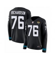 Women's Nike Jacksonville Jaguars #76 Will Richardson Limited Black Therma Long Sleeve NFL Jersey