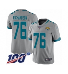 Youth Jacksonville Jaguars #76 Will Richardson Silver Inverted Legend Limited 100th Season Football Jersey
