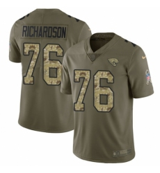 Youth Nike Jacksonville Jaguars #76 Will Richardson Limited Olive/Camo 2017 Salute to Service NFL Jersey