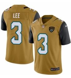 Men's Nike Jacksonville Jaguars #3 Tanner Lee Limited Gold Rush Vapor Untouchable NFL Jersey
