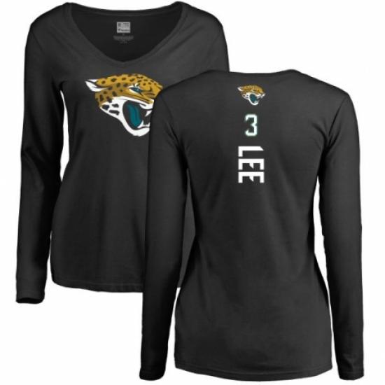 NFL Women's Nike Jacksonville Jaguars #3 Tanner Lee Black Backer Slim Fit Long Sleeve T-Shirt