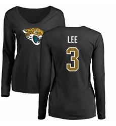 NFL Women's Nike Jacksonville Jaguars #3 Tanner Lee Black Name & Number Logo Slim Fit Long Sleeve T-Shirt