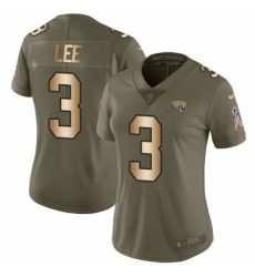 Women's Nike Jacksonville Jaguars #3 Tanner Lee Limited Olive/Gold 2017 Salute to Service NFL Jersey