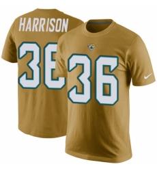 NFL Men's Nike Jacksonville Jaguars #36 Ronnie Harrison Gold Rush Pride Name & Number T-Shirt