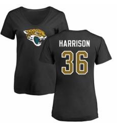 NFL Women's Nike Jacksonville Jaguars #36 Ronnie Harrison Black Name & Number Logo Slim Fit T-Shirt