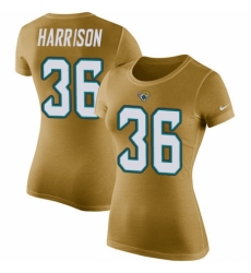 NFL Women's Nike Jacksonville Jaguars #36 Ronnie Harrison Gold Rush Pride Name & Number T-Shirt