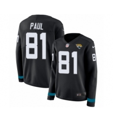 Women's Nike Jacksonville Jaguars #81 Niles Paul Limited Black Therma Long Sleeve NFL Jersey