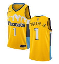 0a880fe5279 Men s Nike Denver Nuggets  1 Michael Porter Jr. Yellow NBA Swingman  Statement Edition Jersey