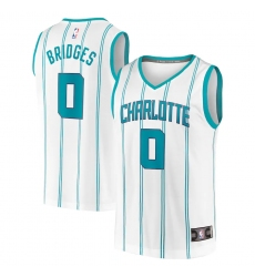 Men's Charlotte Hornets #0 Miles Bridges Fanatics Branded White 2020-21 Fast Break Replica Jersey