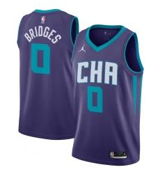 Men's Charlotte Hornets #0 Miles Bridges Jordan Brand Purple 2020-21 Swingman Jersey