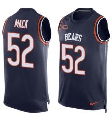 Men's Nike Chicago Bears #52 Khalil Mack Limited Navy Blue Player Name & Number Tank Top NFL Jersey