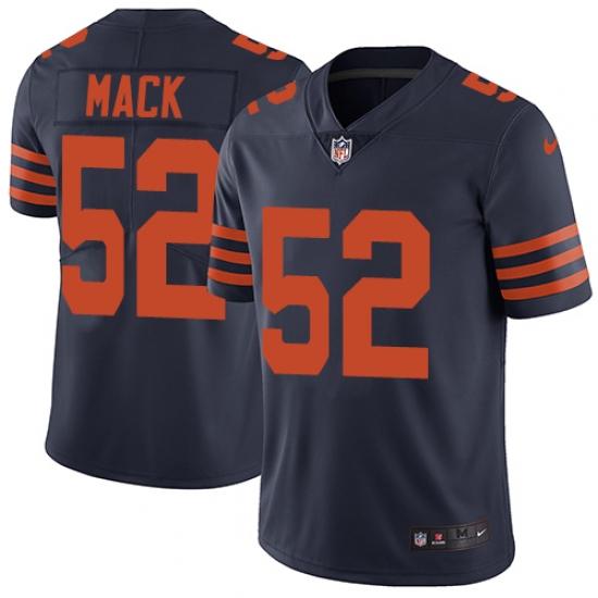 Men's Nike Chicago Bears #52 Khalil Mack Limited Navy Blue Rush Vapor Untouchable NFL Jersey