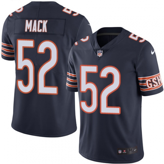 Men's Nike Chicago Bears #52 Khalil Mack Navy Blue Team Color Vapor Untouchable Limited Player NFL Jersey