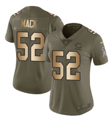 Women's Nike Chicago Bears #52 Khalil Mack Limited Olive Gold 2017 Salute to Service NFL Jersey