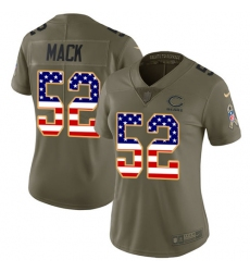 Women's Nike Chicago Bears #52 Khalil Mack Limited Olive USA Flag 2017 Salute to Service NFL Jersey