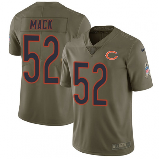 Youth Nike Chicago Bears #52 Khalil Mack Limited Olive 2017 Salute to Service NFL Jersey