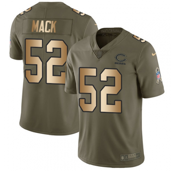 Youth Nike Chicago Bears #52 Khalil Mack Limited Olive Gold 2017 Salute to Service NFL Jersey