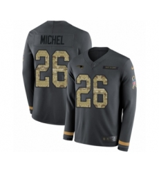 Men's Nike New England Patriots #26 Sony Michel Limited Black Salute to Service Therma Long Sleeve NFL Jersey