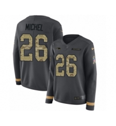 Women's Nike New England Patriots #26 Sony Michel Limited Black Salute to Service Therma Long Sleeve NFL Jersey
