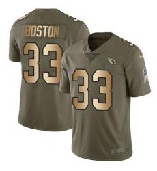 Men's Nike Arizona Cardinals #33 Tre Boston Limited Olive Gold 2017 Salute to Service NFL Jersey