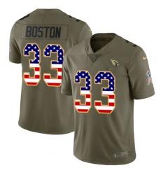 Men's Nike Arizona Cardinals #33 Tre Boston Limited Olive USA Flag 2017 Salute to Service NFL Jersey